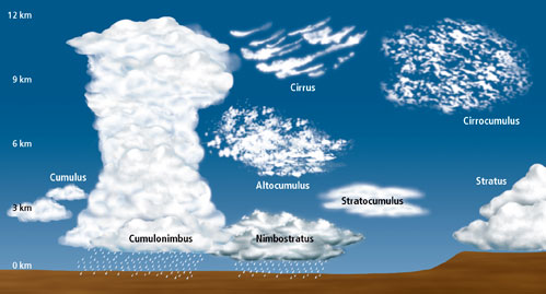 the different types of clouds Clouds appearing in the sky are valuable for predicting the weather, which is  done by deciphering the type of cloud and its features here's a.